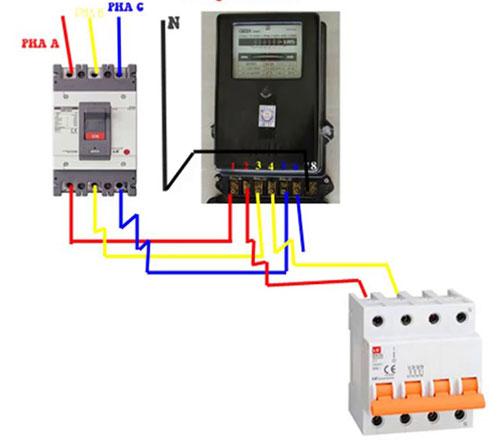Cách đấu điện 3 pha vào aptomat