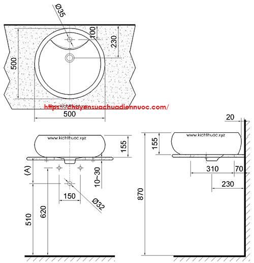 Kích thước lavabo để bàn