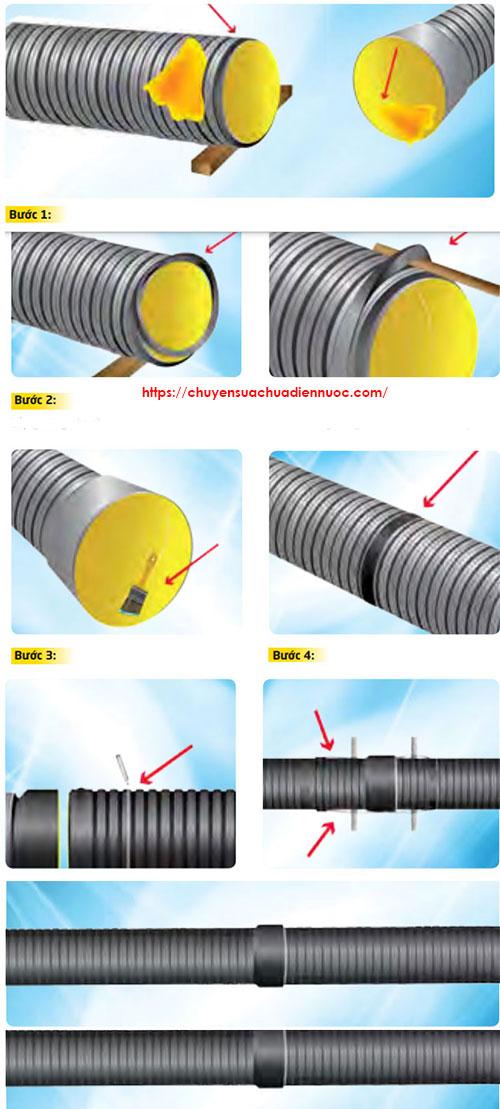 Hướng dẫn kết nối ống HDPE gân thành đôi