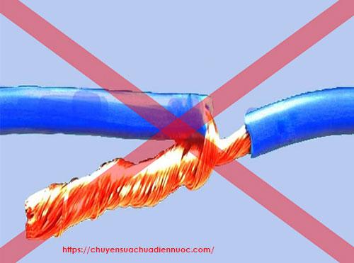 nối dây điện sai kỹ thuật